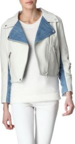 Rita Leather And Denim Jacket - pattern: plain, colourblock; style: biker; collar: asymmetric biker; length: cropped; predominant colour: white; occasions: casual; fit: straight cut (boxy); fibres: leather - 100%; sleeve length: long sleeve; sleeve style: standard; texture group: leather; collar break: medium; pattern type: fabric; pattern size: standard