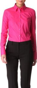 Stretch Cotton Shirt - neckline: shirt collar/peter pan/zip with opening; pattern: plain; style: shirt; bust detail: buttons at bust (in middle at breastbone)/zip detail at bust; predominant colour: hot pink; occasions: casual, evening, work; length: standard; fibres: cotton - stretch; fit: tailored/fitted; sleeve length: long sleeve; sleeve style: standard; texture group: cotton feel fabrics; trends: fluorescent; pattern type: fabric