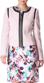 Adeli Boucl Jacket - collar: round collar/collarless; style: boxy; pattern: herringbone/tweed; predominant colour: blush; secondary colour: black; occasions: casual, occasion; length: standard; fit: straight cut (boxy); fibres: cotton - stretch; sleeve length: long sleeve; sleeve style: standard; collar break: high; pattern type: fabric; texture group: tweed - light/midweight