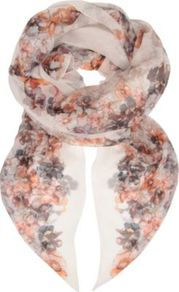Floral Silk Chiffon Scarf - predominant colour: ivory; occasions: casual, evening, work, occasion; type of pattern: standard; style: regular; size: standard; material: silk; pattern: florals