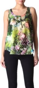 Botanical Vest - sleeve style: sleeveless; style: vest top; bust detail: buttons at bust (in middle at breastbone)/zip detail at bust; predominant colour: dark green; occasions: casual, evening, work; length: standard; neckline: scoop; fibres: cotton - mix; fit: loose; sleeve length: sleeveless; texture group: silky - light; pattern type: fabric; pattern size: small &amp; busy; pattern: florals