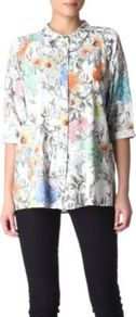 Floral Print Shirt - neckline: shirt collar/peter pan/zip with opening; length: below the bottom; style: shirt; predominant colour: white; occasions: casual, evening, work; fibres: polyester/polyamide - 100%; fit: loose; sleeve length: 3/4 length; sleeve style: standard; texture group: crepes; trends: high impact florals, statement prints; pattern type: fabric; pattern size: standard; pattern: florals