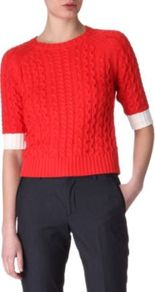Cable Knit Jumper - length: cropped; style: standard; pattern: cable knit; predominant colour: true red; occasions: casual, work; fibres: cotton - mix; fit: slim fit; neckline: crew; sleeve length: half sleeve; sleeve style: standard; texture group: knits/crochet; pattern type: knitted - other; pattern size: standard