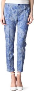 Floral Print Cropped Trousers - waist detail: fitted waist, narrow waistband; pocket detail: small back pockets, pockets at the sides; waist: mid/regular rise; predominant colour: indigo; occasions: casual, evening, work, occasion; length: ankle length; fibres: cotton - 100%; hip detail: fitted at hip (bottoms); jeans &amp; bottoms detail: turn ups; texture group: cotton feel fabrics; trends: high impact florals; fit: straight leg; pattern type: fabric; pattern size: standard; pattern: florals, patterned/print; style: standard