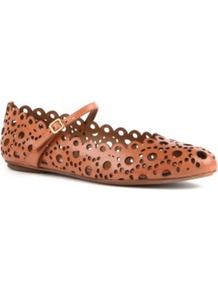 Verity Scalloped Leather Pumps - predominant colour: tan; occasions: casual, work; material: leather; heel height: flat; embellishment: buckles; ankle detail: ankle strap; toe: round toe; style: ballerinas / pumps; finish: plain; pattern: patterned/print, plain