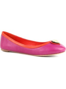 Faith Leather Pumps - predominant colour: hot pink; occasions: casual, evening, work, holiday; material: leather; heel height: flat; embellishment: snaffles, chain/metal; toe: round toe; style: ballerinas / pumps; trends: fluorescent; finish: fluorescent; pattern: pinstripe, plain, two-tone, colourblock