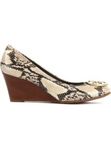 Sally Mock Snake Leather Wedge Courts - predominant colour: nude; occasions: casual, evening, work; material: leather; heel height: mid; embellishment: buckles, chain/metal; heel: wedge; toe: round toe; style: courts; finish: plain; pattern: animal print