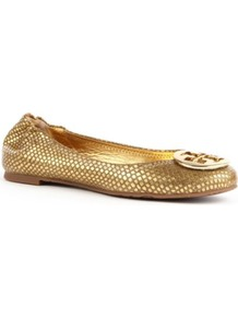 Reva Metallic Leather Pumps - predominant colour: gold; occasions: casual, evening, work, occasion, holiday; material: leather; heel height: flat; embellishment: elasticated, snaffles, studs, chain/metal; toe: round toe; style: ballerinas / pumps; trends: metallics; finish: metallic; pattern: animal print, monogram, plain