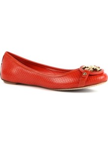 Aaden Embossed Leather Pumps - predominant colour: bright orange; occasions: casual, evening, work, holiday; material: leather; heel height: flat; embellishment: snaffles, studs, chain/metal; toe: round toe; style: ballerinas / pumps; trends: fluorescent; finish: plain; pattern: animal print, monogram, plain