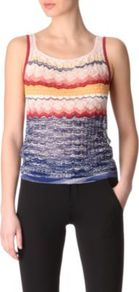 Crochet Knit Vest - neckline: scoop neck; pattern: horizontal stripes, patterned/print; sleeve style: sleeveless; waist detail: fitted waist; occasions: casual, work; length: standard; style: top; fibres: cotton - mix; fit: body skimming; predominant colour: multicoloured; sleeve length: sleeveless; texture group: knits/crochet; pattern type: knitted - fine stitch; pattern size: small & busy