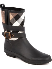 Holloway Wellies - predominant colour: black; occasions: casual; material: plastic/rubber; heel height: flat; embellishment: buckles, zips; heel: standard; toe: round toe; boot length: mid calf; style: wellies; trends: statement prints; finish: plain; pattern: checked/gingham, patterned/print