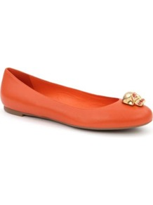 Roll Leather Pumps - predominant colour: bright orange; occasions: casual, evening, work; material: leather; heel height: flat; embellishment: crystals, studs, chain/metal; toe: round toe; style: ballerinas / pumps; trends: fluorescent; finish: plain; pattern: plain, polka dot