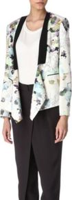 Silk Floral Jacket - style: single breasted blazer; shoulder detail: shoulder pads; collar: standard lapel/rever collar; predominant colour: white; secondary colour: black; occasions: evening, work, occasion; length: standard; fit: tailored/fitted; fibres: silk - 100%; sleeve length: long sleeve; sleeve style: standard; texture group: structured shiny - satin/tafetta/silk etc.; collar break: low/open; pattern type: fabric; pattern size: big & busy; pattern: florals