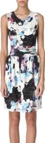Floral Silk Dress - style: shift; neckline: round neck; fit: fitted at waist; sleeve style: sleeveless; back detail: contrast pattern/fabric at back; occasions: evening, occasion; length: just above the knee; fibres: silk - 100%; predominant colour: multicoloured; sleeve length: sleeveless; texture group: silky - light; trends: high impact florals; pattern type: fabric; pattern size: big &amp; busy; pattern: florals