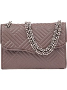 Affair Quilted Leather Shoulder Bag - predominant colour: taupe; occasions: casual, evening, work; style: shoulder; length: shoulder (tucks under arm); size: small; material: leather; embellishment: quilted, chain/metal; pattern: plain; finish: plain