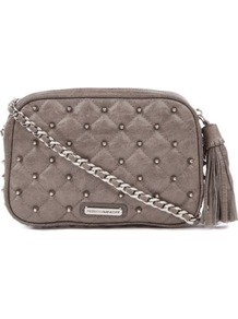 Flirty Studded Cross Body - predominant colour: mid grey; occasions: casual, evening, work, occasion, holiday; type of pattern: small; style: shoulder; length: across body/long; size: small; material: leather; embellishment: pleated, studs, tassels, chain/metal; pattern: plain, patterned/print; finish: plain