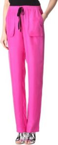 Aruru Trousers - length: standard; pattern: plain; waist detail: elasticated waist, belted waist/tie at waist/drawstring; hip detail: front pockets at hip; waist: high rise; pocket detail: pockets at the sides; predominant colour: hot pink; occasions: casual, evening, occasion, holiday; fibres: silk - 100%; texture group: silky - light; trends: sporty redux, fluorescent; fit: straight leg; pattern type: fabric; style: standard