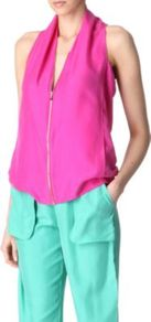 Kelzer Top - neckline: low v-neck; pattern: plain; sleeve style: sleeveless; bust detail: added detail/embellishment at bust, buttons at bust (in middle at breastbone)/zip detail at bust; hip detail: side pockets at hip, sculpting darts/pleats/seams at hip; back detail: racer back/sports back, low cut/open back, crossover, keyhole/peephole detail at back; predominant colour: hot pink; occasions: casual, evening; length: standard; style: top; fibres: silk - 100%; fit: loose; shoulder detail: flat/draping pleats/ruching/gathering at shoulder; sleeve length: sleeveless; texture group: silky - light; trends: fluorescent; pattern type: fabric; pattern size: standard