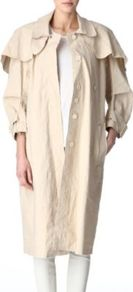 Lake Light Trench Coat - pattern: plain; bust detail: added detail/embellishment at bust; hip detail: side pockets at hip; fit: loose; style: trench coat; length: on the knee; sleeve style: balloon; collar: standard lapel/rever collar; predominant colour: stone; occasions: casual, work; fibres: polyester/polyamide - mix; shoulder detail: added shoulder detail, flat/draping pleats/ruching/gathering at shoulder, structured/bulky pleats/bulky detail at shoulder; back detail: back vent/flap at back; sleeve length: long sleeve; texture group: cotton feel fabrics; collar break: high; pattern type: fabric