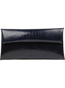 Envelope Clutch Bag - predominant colour: black; occasions: evening, occasion; type of pattern: light; style: clutch; length: hand carry; size: small; material: leather; pattern: animal print, plain; finish: plain