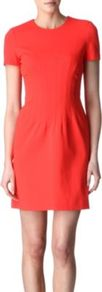 Yazmine Dress - style: shift; length: mid thigh; fit: tailored/fitted; pattern: plain; waist detail: twist front waist detail/nipped in at waist on one side/soft pleats/draping/ruching/gathering waist detail; predominant colour: true red; occasions: casual, evening, work; fibres: polyester/polyamide - stretch; neckline: crew; sleeve length: short sleeve; sleeve style: standard; texture group: crepes; trends: fluorescent; pattern type: fabric