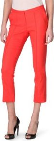 Aislin Cropped Trousers - pattern: plain; style: capri; waist detail: fitted waist, narrow waistband; pocket detail: small back pockets, pockets at the sides; waist: mid/regular rise; predominant colour: coral; occasions: casual, evening, work, occasion, holiday; length: calf length; fibres: polyester/polyamide - stretch; hip detail: fitted at hip (bottoms); jeans &amp; bottoms detail: turn ups; texture group: crepes; trends: tuxedo, fluorescent; fit: straight leg; pattern type: fabric; pattern size: standard
