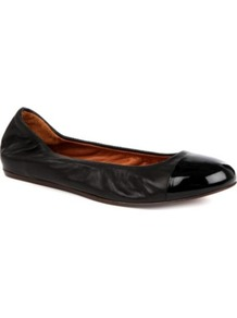 Peep Meg Leather Pumps - predominant colour: black; occasions: casual, evening, work; material: leather; heel height: flat; toe: round toe; style: ballerinas / pumps; finish: plain; pattern: plain; embellishment: toe cap