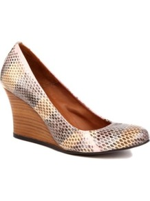 Orpheus Yer Python Print Wedges - occasions: casual, evening, work, holiday; predominant colour: multicoloured; material: leather; heel height: high; heel: wedge; toe: round toe; style: courts; finish: plain; pattern: animal print