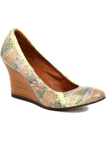 Orpheus Yer Python Print Wedges - occasions: casual, evening, work, holiday; predominant colour: multicoloured; material: leather; heel height: high; heel: wedge; toe: round toe; style: courts; finish: plain; pattern: animal print, patterned/print