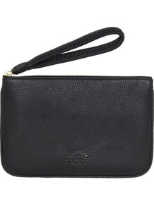 Effie Spongy Leather Pouch - predominant colour: black; occasions: casual, evening, work, occasion, holiday; type of pattern: light; style: clutch; length: hand carry; size: small; material: leather; pattern: plain; finish: plain