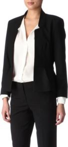 Lisa Jacket - pattern: plain; style: single breasted blazer; collar: standard lapel/rever collar; predominant colour: black; occasions: casual, evening, work, occasion; length: standard; fit: tailored/fitted; fibres: polyester/polyamide - stretch; sleeve length: long sleeve; sleeve style: standard; collar break: low/open; pattern type: fabric; texture group: other - light to midweight