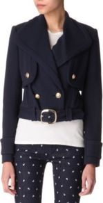 Three In One Marine Ponte Jacket - pattern: plain; length: cropped; style: boxy; collar: standard lapel/rever collar; predominant colour: navy; occasions: casual, work; fit: straight cut (boxy); fibres: cotton - mix; back detail: back vent/flap at back; sleeve length: long sleeve; sleeve style: standard; texture group: cotton feel fabrics; collar break: medium; pattern type: fabric