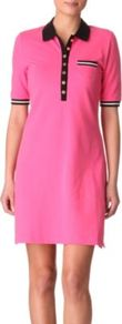 Malibu Tennis Dress - style: shirt; length: mid thigh; neckline: shirt collar/peter pan/zip with opening; bust detail: buttons at bust (in middle at breastbone)/zip detail at bust; predominant colour: hot pink; secondary colour: black; occasions: casual, holiday; fit: straight cut; fibres: cotton - stretch; sleeve length: short sleeve; sleeve style: standard; trends: sporty redux; pattern type: fabric; pattern size: standard; pattern: colourblock; texture group: jersey - stretchy/drapey