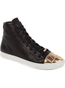 Lima Leather Trainers - predominant colour: black; occasions: casual; material: leather; heel height: flat; embellishment: ribbon, toe cap; toe: round toe; style: trainers; trends: sporty redux, metallics; finish: metallic; pattern: plain, two-tone