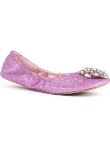 Celsey Glitter Pumps - predominant colour: lilac; occasions: casual, evening; material: fabric; heel height: flat; embellishment: glitter; toe: round toe; style: ballerinas / pumps; finish: metallic; pattern: plain