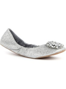 Celsey Glitter Pumps - predominant colour: silver; occasions: casual, evening, holiday; material: leather; heel height: flat; embellishment: crystals, elasticated, glitter, snaffles; toe: round toe; style: ballerinas / pumps; trends: metallics; finish: metallic; pattern: plain