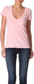 Relaxed T Shirt - pattern: plain; style: t-shirt; predominant colour: pink; occasions: casual; length: standard; neckline: scoop; fibres: cotton - 100%; fit: body skimming; sleeve length: short sleeve; sleeve style: standard; texture group: cotton feel fabrics; pattern type: fabric