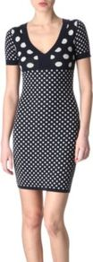 Paule Jacquard Dress - length: mid thigh; neckline: low v-neck; fit: tight; style: bodycon; pattern: polka dot; secondary colour: white; occasions: casual, evening; fibres: wool - stretch; sleeve length: short sleeve; sleeve style: standard; predominant colour: monochrome; pattern type: fabric; pattern size: small & busy; texture group: woven light midweight