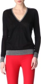 Cashmere Jumper - neckline: v-neck; style: standard; predominant colour: black; occasions: casual, work; length: standard; fibres: wool - 100%; fit: standard fit; sleeve length: long sleeve; sleeve style: standard; texture group: knits/crochet; pattern type: knitted - fine stitch; pattern size: small & light