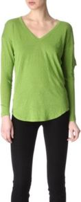 Long Sleeved Top - neckline: v-neck; pattern: plain; style: t-shirt; hip detail: fitted at hip, dip hem; bust detail: ruching/gathering/draping/layers/pintuck pleats at bust; predominant colour: emerald green; occasions: casual, work; length: standard; fibres: linen - mix; fit: straight cut; sleeve length: long sleeve; sleeve style: standard; trends: fluorescent; pattern type: fabric; pattern size: small & light; texture group: jersey - stretchy/drapey