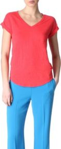 Short Sleeved T Shirt - neckline: v-neck; pattern: plain; style: t-shirt; predominant colour: coral; occasions: casual, work; length: standard; fibres: linen - mix; fit: straight cut; sleeve length: short sleeve; sleeve style: standard; pattern type: fabric; texture group: jersey - stretchy/drapey