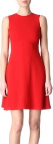 Doll Dress - style: shift; length: mid thigh; pattern: plain; sleeve style: sleeveless; predominant colour: true red; occasions: casual, evening; fit: soft a-line; neckline: crew; sleeve length: sleeveless; texture group: jersey - stretchy/drapey; fibres: viscose/rayon - mix