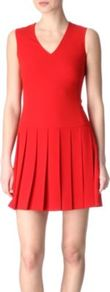 Vix Pleated Dress - length: mid thigh; neckline: v-neck; pattern: plain; sleeve style: sleeveless; predominant colour: true red; occasions: casual, evening; fit: fitted at waist &amp; bust; style: fit &amp; flare; fibres: polyester/polyamide - mix; hip detail: sculpting darts/pleats/seams at hip; sleeve length: sleeveless; texture group: crepes; pattern type: fabric