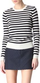 Sailor Cashmere Jumper - pattern: horizontal stripes, striped; style: standard; predominant colour: navy; occasions: casual, work; length: standard; fibres: wool - 100%; fit: standard fit; neckline: crew; sleeve length: long sleeve; sleeve style: standard; texture group: knits/crochet; pattern type: knitted - other; pattern size: standard
