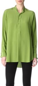 Clarence Silk Shirt - neckline: mandarin; pattern: plain; length: below the bottom; style: shirt; bust detail: buttons at bust (in middle at breastbone)/zip detail at bust; predominant colour: lime; occasions: casual, work; fibres: silk - 100%; fit: loose; back detail: longer hem at back than at front; sleeve length: long sleeve; sleeve style: standard; texture group: crepes; trends: volume; pattern type: fabric