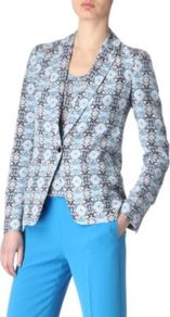 Deauville Printed Jacket - style: single breasted blazer; collar: standard lapel/rever collar; predominant colour: pale blue; secondary colour: mid grey; occasions: casual, evening, work; length: standard; fit: tailored/fitted; fibres: silk - 100%; waist detail: fitted waist; sleeve length: long sleeve; sleeve style: standard; texture group: structured shiny - satin/tafetta/silk etc.; collar break: medium; pattern type: fabric; pattern size: small & busy; pattern: patterned/print