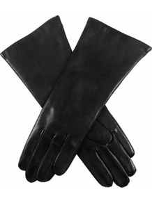Classic Cashmere Lined Leather Gloves - predominant colour: black; occasions: casual, evening, work, occasion; type of pattern: standard; style: standard; length: wrist; material: leather; pattern: plain