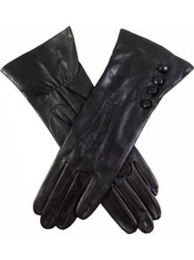 Buttoned Leather Gloves - predominant colour: black; occasions: casual, evening, work, occasion; type of pattern: standard; style: standard; length: wrist; material: leather; embellishment: button; pattern: plain