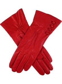 Buttoned Leather Gloves - predominant colour: true red; occasions: casual, evening, work; type of pattern: standard; style: standard; length: wrist; material: leather; embellishment: button; pattern: plain