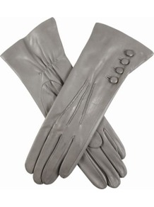 Buttoned Leather Gloves - predominant colour: light grey; occasions: casual, evening, work; type of pattern: standard; style: standard; length: wrist; material: leather; embellishment: button; pattern: plain